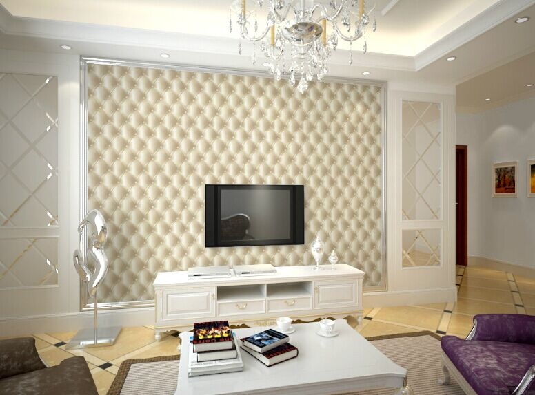 3D Effect Print Faux Leather Wallpaper Modern Gold Beige Purple Wall Paper  For Hotel Bar TV Background Dine Room 10M Roll AB013 In Wallpapers From  Home ... Part 42