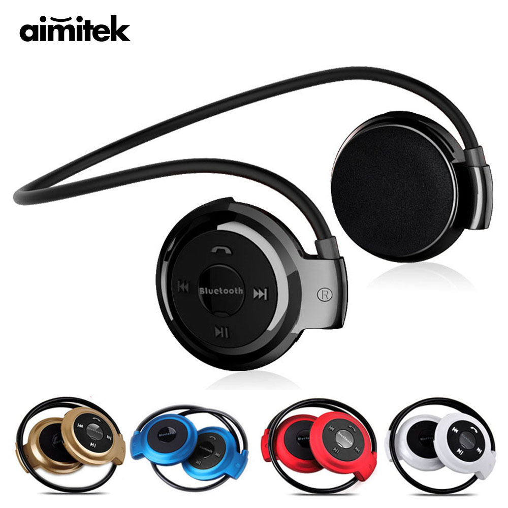 Mini-503 Sport Wireless Bluetooth Headphones Stereo Earphones MP3 Music Player Headset Earpiece Micro SD Card Slot FM Radio Mic