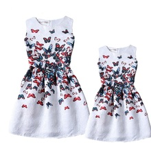 2016 mother daughter dresses summer style family matching clothes girls family looking clothing sleeveless kids dress butterfly