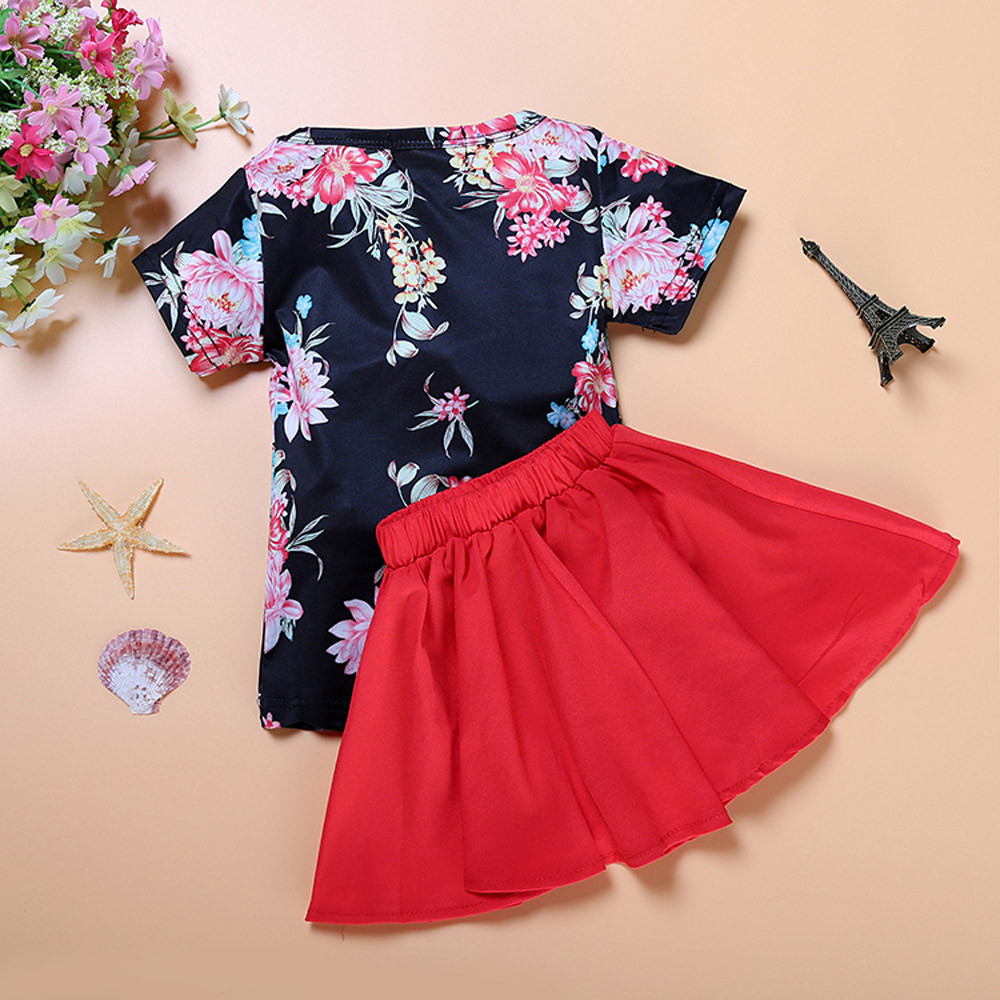 2017 New Arrival Boys Girls Kids Children Clothes Clothing Floral Baby Kids  Dress Short Sleeve Tops T-Shirt+Skirt Outfits Set 2016 spring girls clothes girls clothing sets new arrival female child flower print o neck pullover short skirt set baby twinset