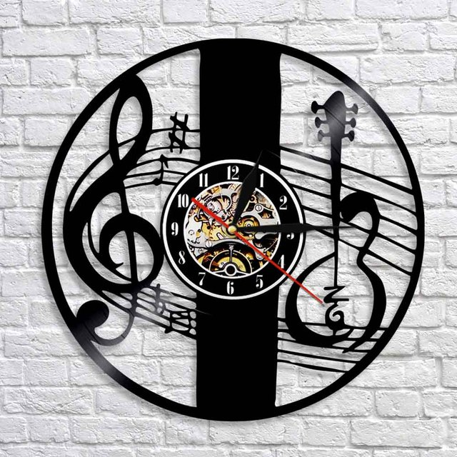 1Piece Treble Clef Notes Keys Wall Art Decor Clock Music Notes Vinyl ...