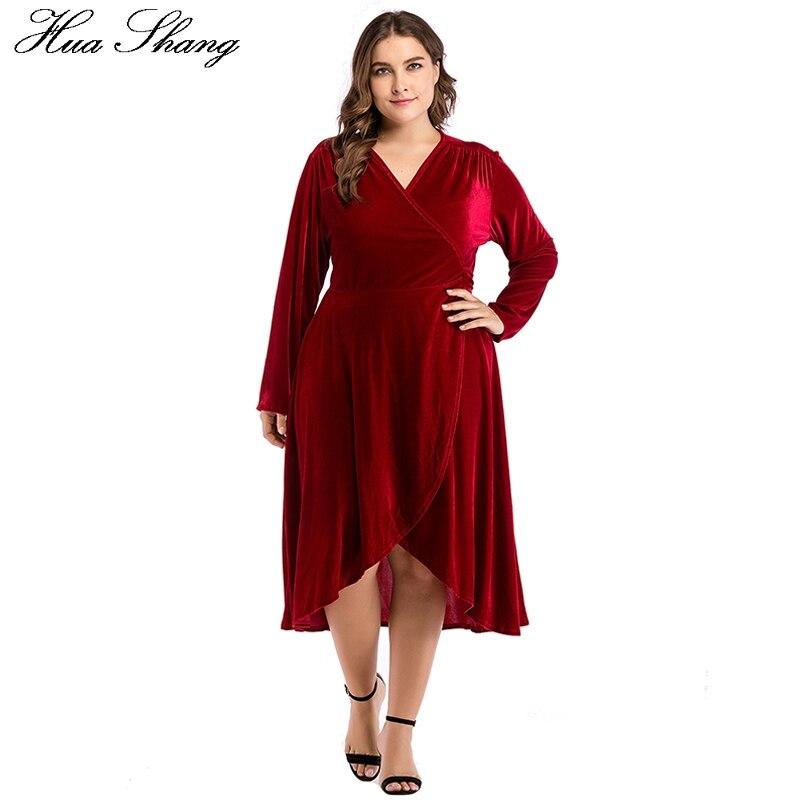b5b2adb38b8b2 Red Winter Dresses Women 2018 Female V Neck Long Sleeve Split Irregular  Wrap Dress Knee Length Velvet XXXL Plus Size Party Dress-in Dresses from  Women's ...