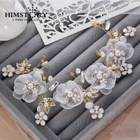 Sweety Fairy Designs Handmade Flower Wedding Headpiece Bridal Golden Leaf Pearl Beautiful Headdress Hair Ornaments