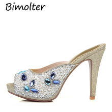 Bimolter Peep toe Platform 10cm High Heels Appliques Flower Golden Thin Spike Women Sexy Fashion Party Dress Shoes FC074
