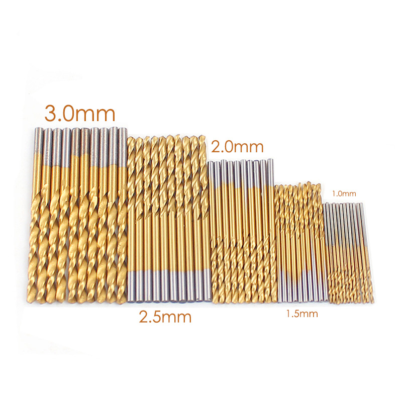Drill Bit Set Drillpro 50PCS 1//1.5//2//2.5//3mm HSS Titanium Coated Twist Drill Bit