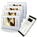"Brand New Apartment Intercom Entry System 4 Monitor Wired 7"" HD Color Video Door Phone intercom System for 4 house FREE SHIPPING"