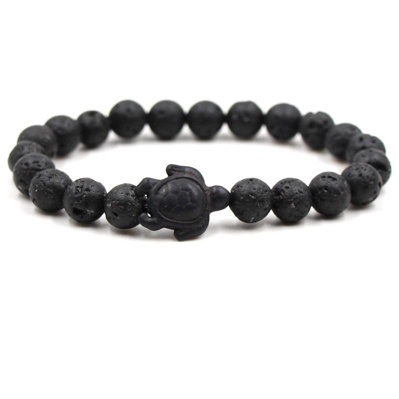 NEW Punk Style Sea Turtle Beads Bracelets For Women Men Classic Blue Natural Stone Elastic Friendship Bracelet Beach Jewelry