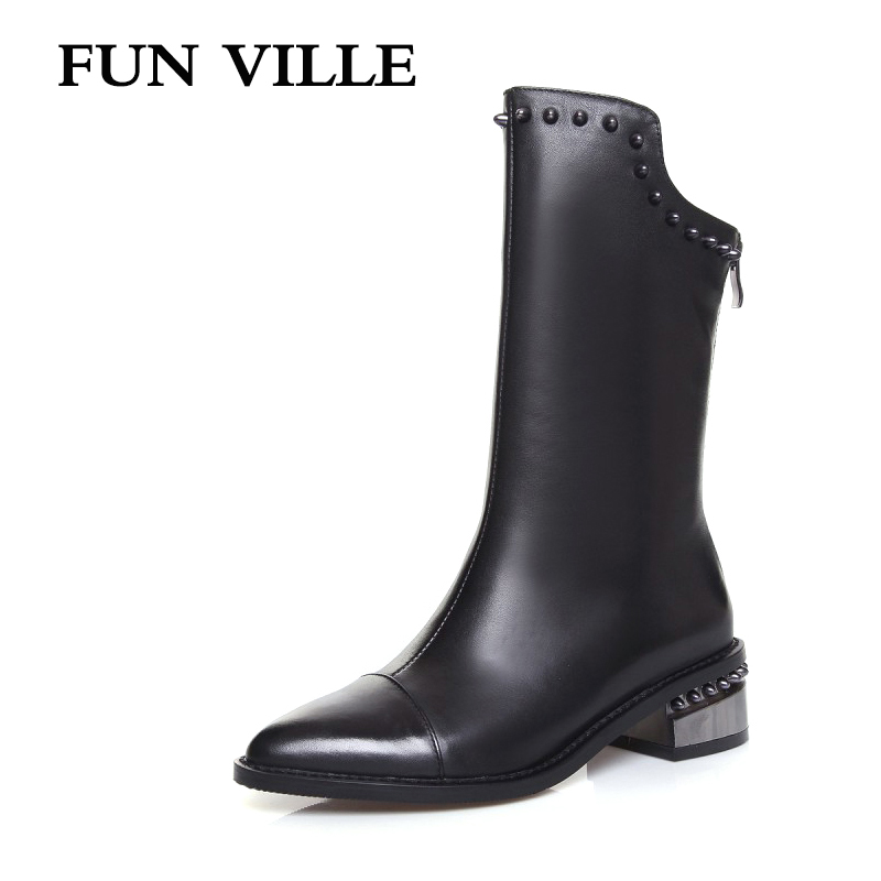 FUN VILLE 2017 New fashion Elegant style Women Mid-calf Boots Genuine leather Square lady botas Shoes Pointed Toe size 34-43 new arrival superstar genuine leather chelsea boots women round toe solid thick heel runway model nude zipper mid calf boots l63