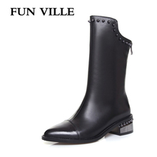 FUN VILLE 2017 New fashion Elegant style Women Mid-calf Boots Genuine leather Square lady botas Shoes Pointed Toe size 34-43