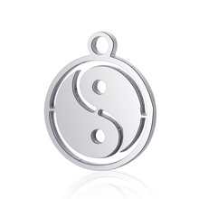 10pcs Real Stainless Steel Charms Tai Chi Pendant for Fashion Handmade DIY Jewelry Making Finding Accessories