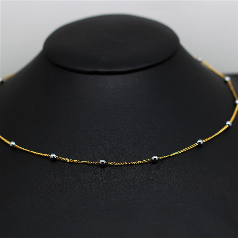 new design 2 years guarantee gold color ball beads rolo chain ...