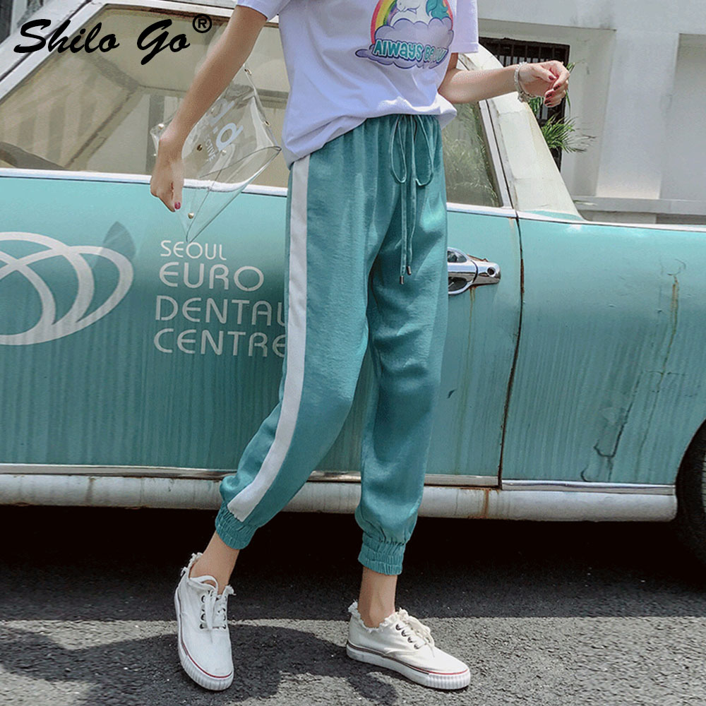 Side Stripe Drawstring Harem   Pants     Capri   Loose Casual   Pants   Women Chic Summer Trousers High Waist   Pants   2019 Female