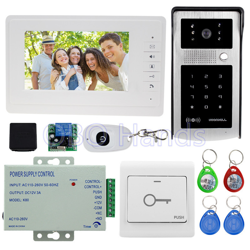 7'' wired color video door phone doorbell kit set with RFID access camera with IR night vision+white monitor+power high quality wireless video call ip camera kit with door magnetic door alarm super high voice quality voip phone