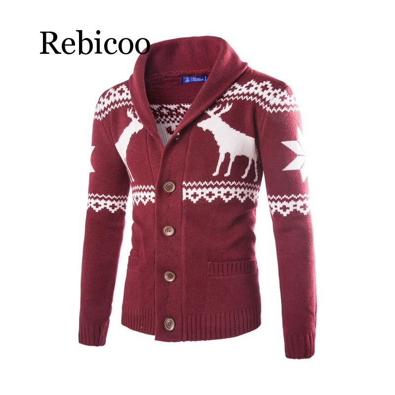 Sweater male deer sweater Christmas mens national cardigan European and American