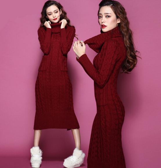 Winter One-piece Dress Womens Knitted Pullovers Sweater Long Turtleneck Oversized Sweater