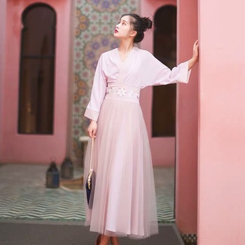 IRINAY530 2019 Spring Summer Collection new arrival vintage chiffon shirt and tulle skirt women two piece set dress long