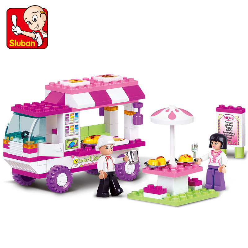 0155 SLUBAN Girl Friends Food Truck Snack Car Model Building Blocks Enlighten Action Figure Toys For Children Compatible Legoe 1700 sluban city police speed ship patrol boat model building blocks enlighten action figure toys for children compatible legoe