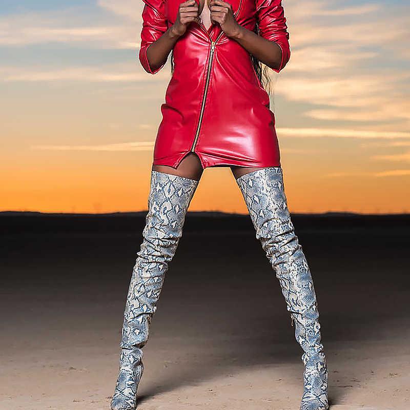 Prova perfetto Uyluk Yüksek Diz üzerinde çizmeler kadın ayakkabıları Snakeskin Sivri Burun Süper Ince Yüksek Topuklu Uzun Çizmeler Bottine Femme