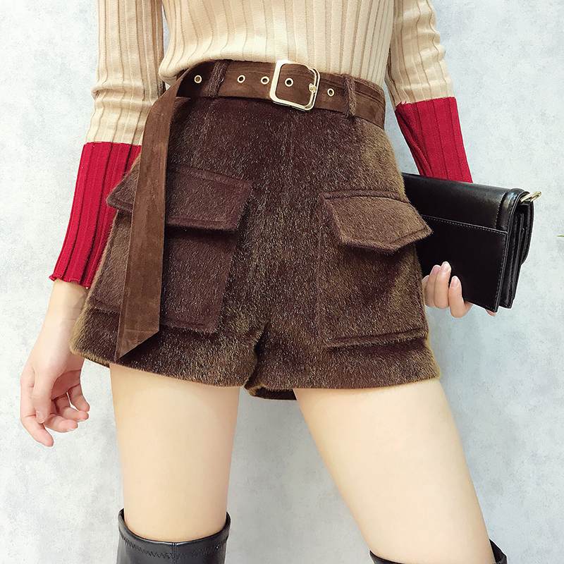 MUMUZI High Fashion Faux MINK FUR Shorts Winter warm thick short trousers casual loose high waist wide leg pants with belt