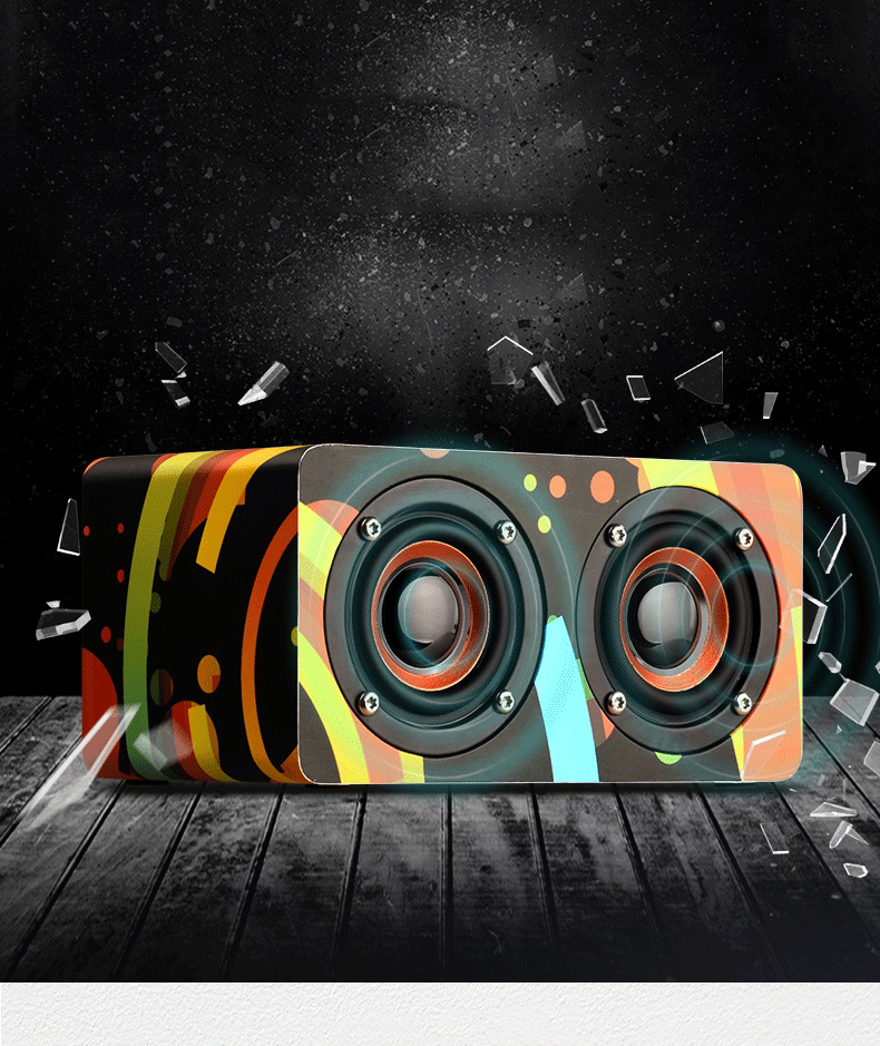 Wood Bass Bluetooth Wireless Speaker 360D Stereo Surround Sound Box Speakers Loudspeakers Support FM TF AUX Hands-Free