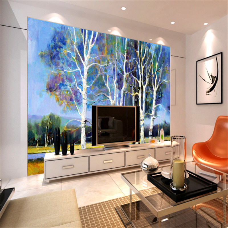 custom modern hd 3d non-woven wallpaper wall mural 3d  wallpaper oil painting landscape blue wood background wall for study room free shipping european corridor wall painting background wallpaper hawaii non woven wallpaper mural