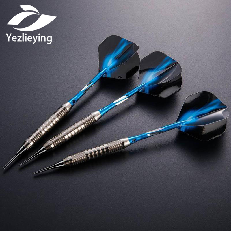 3pcs/set High Quality Blue Fire Pattern Professional 18 Grams Soft Tip Darts Iron Darts