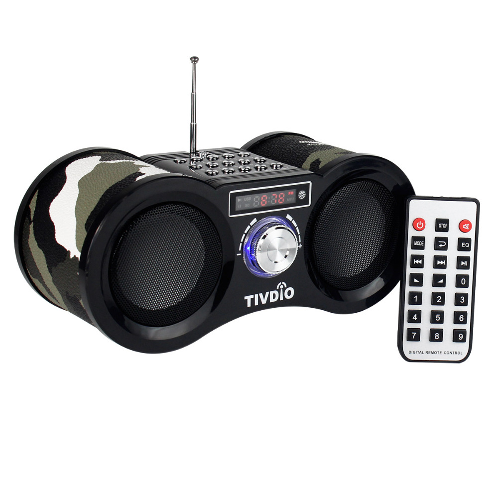 TIVDIO V-113 Camouflage Stereo Digital FM Radio USB/TF Card Speaker MP3 Music Player With Remote Control Receiver Radio F9203M n74u portable media player speaker magaphone w tf usb fm microphone black