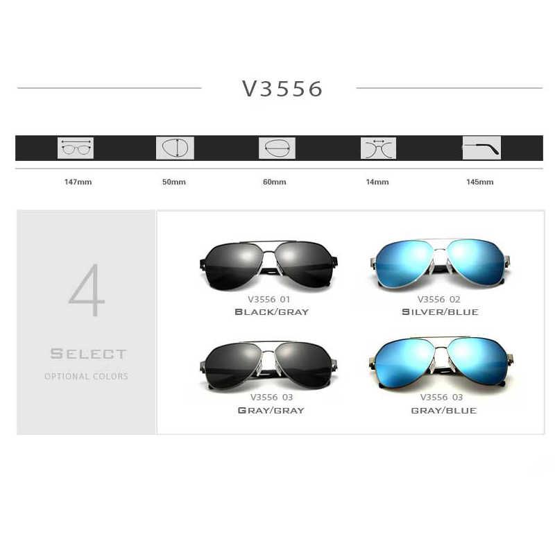VEITHDIA แฟชั่นแว่นตากันแดด Polarized Mens แว่นตากันแดด oculos แว่นตาชายอุปกรณ์เสริมสำหรับผู้ชาย/ผู้หญิงสีฟ้ากระจก 3556