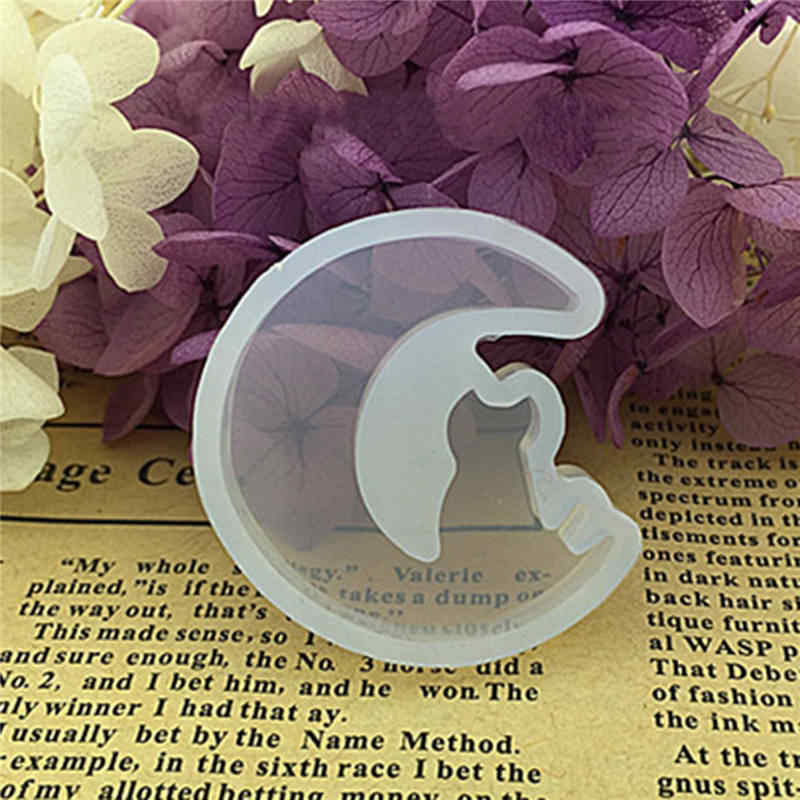 DoreenBeads راتينج السليكون قالب لصنع المجوهرات مستديرة القط الحيوان نصف القمر الأبيض قالب من السيليكون للمرأة قلادة لتقوم بها بنفسك ، 1 Piece