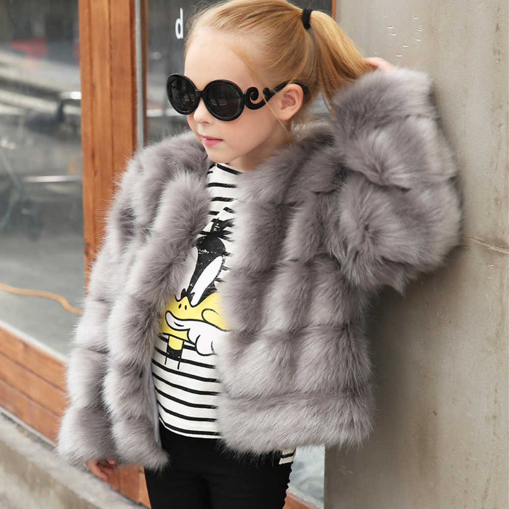 7e1ad51b98f Figwit Girls Long Sleeve Faux Fur Coat Jacket Kids Thick Warm Outwear  Teenagers Children Clothes Autumn