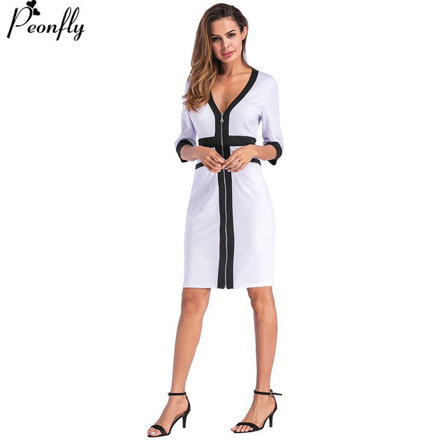 22563def2d PEONFLY Vintage Deep V Neck half Sleeves Dress Women Cardigan Sexy Evening  Party Dresses Plus Size Women Clothing Autumn Winter