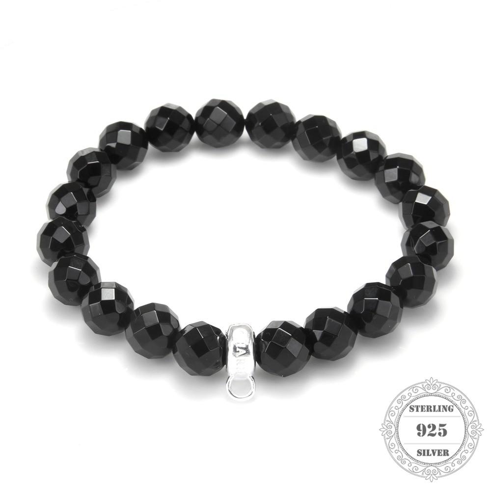 HEMISTON Thomas Black Facet Agate Beads Bracelet with 925 Sterling - Joyas