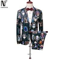 3D Husky Suit Men Vintage Flower Sets Two Pieces Mens Party Wedding Suits Beach Casual Best Man Clothes England 2019 Suits
