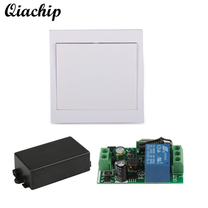 QIACHIP AC 110V 220V RF Receiver 86 Wall Panel RF Wireless Remote Control Switch Transmitter For Hall Bedroom Ceiling Light Lamp mini stable 10a 220v 1ch rf remote control switch system for led bulb light strips receiver 86 wall panel transmitter