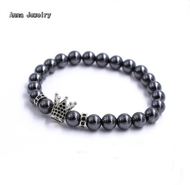 Wholesale Strand Beads Bracelet,Grey Steel Beads with a Imperial Crown Charm,Fashion Crown Beads Chain Bracelet For Men/Women