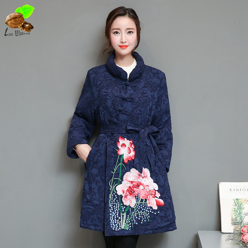 Women Winter National Wind Coats Chinese Style Embroidery Flower Cotton Jacquard Vintage Jacket Cotton-Padded Jackets for Mother vintage embroidery women flats chinese floral canvas embroidered shoes national old beijing cloth single dance soft flats