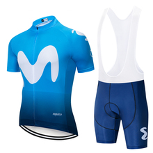 2019 Movistar Team short-sleeved cycling Jersey suit 9D bib roa ciclismo bicycle MTB uniform mens clothing