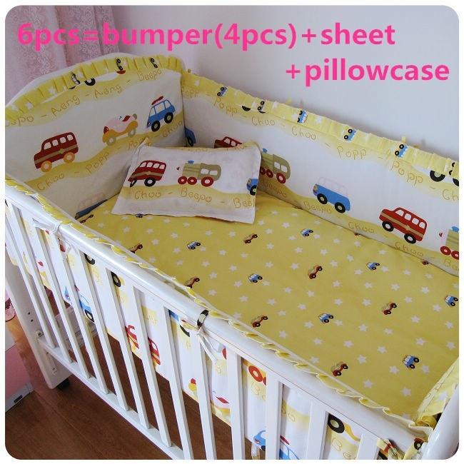 Promotion! 6/7PCS Baby Bedding Set Cotton Baby Duvet Covet Print Carton Quilt Cover For Baby Girl Boy ,120*60/120*70cm