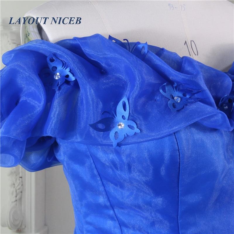 2017 Vestido Longo Royal Blue Princess Suknia Balu Piętro Długość - Suknie specjalne okazje - Zdjęcie 5