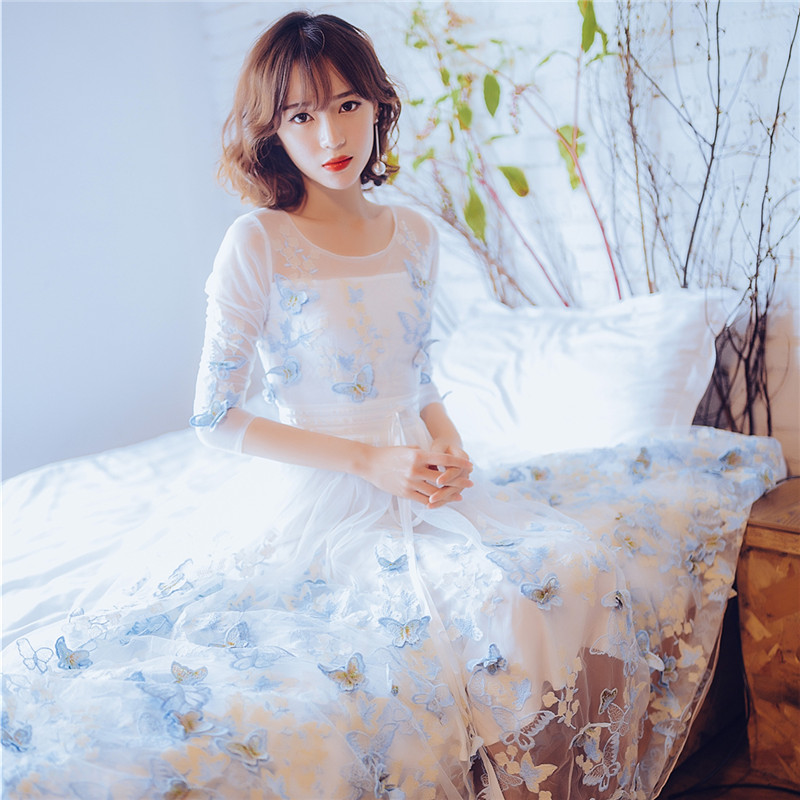 Livraison gratuite reine/princesse 3d papillon longue robe broderie longue robe victorienne bord de mer/vacances robe