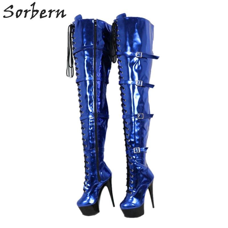 Sorbern Metallic Blauw Laarzen Stripper Pole Brede Kuit Dij Hoge Laarzen Drag Queen Hakken Vrouwen Maat 12 Schoenen Dikke hakken-in Over de knie laarzen van Schoenen op  Groep 1