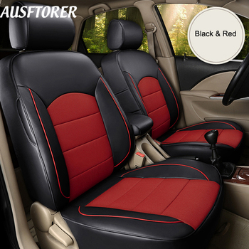 AUSFTORER Tailored Perforated Leather Covers Seat for Renault Fluence 2013 Accessories Seat Cover Sets Cowhide Car Styling 15PCS