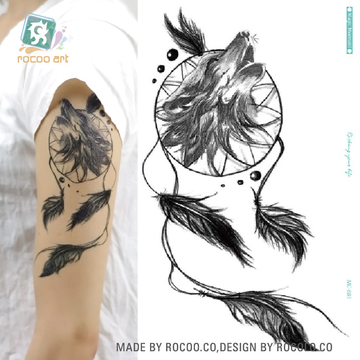 mc 681 2016 black new arm tattoo eco friendly temporary fake dreamcatcher with wolf tattoo. Black Bedroom Furniture Sets. Home Design Ideas