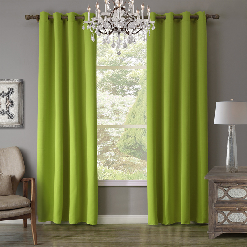 Green Curtains For Living Room Display Unit Aliexpress Com Buy 1 Piece Curtain Blackout Bedroom Drapes Window Punching Cortinas