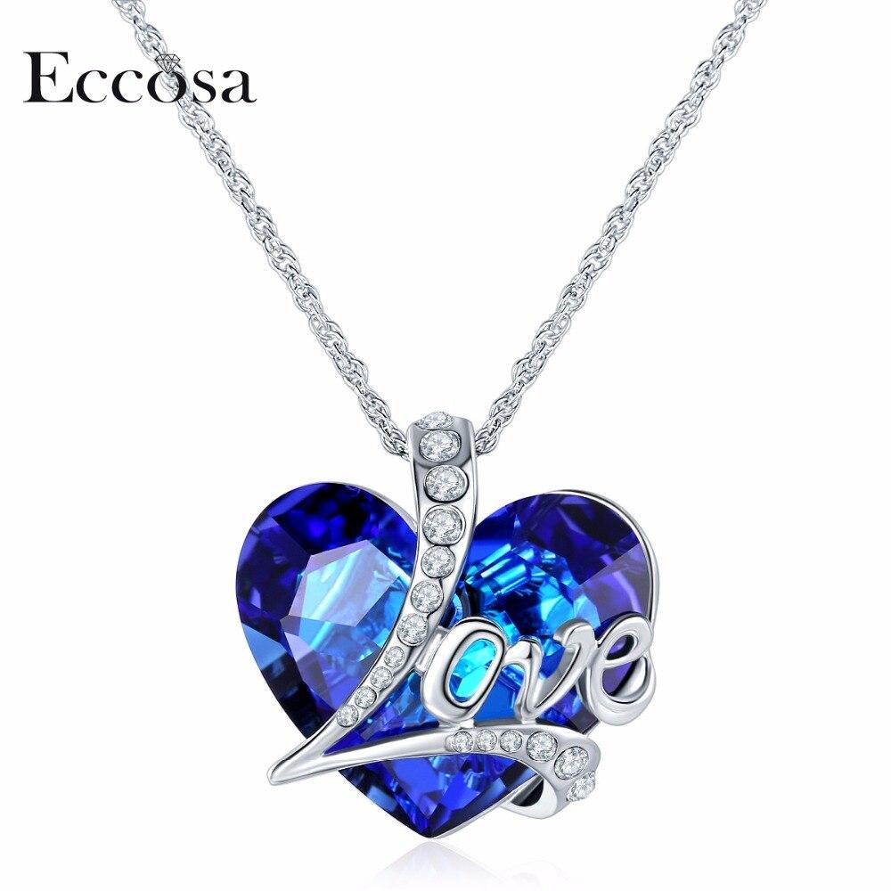 Здесь продается  ECCOSA Full Love Heart Necklaces & Pendants Valentines Jewelry Statement Necklace Woman Bijoux Made With Crystal From Swarovski  Ювелирные изделия и часы