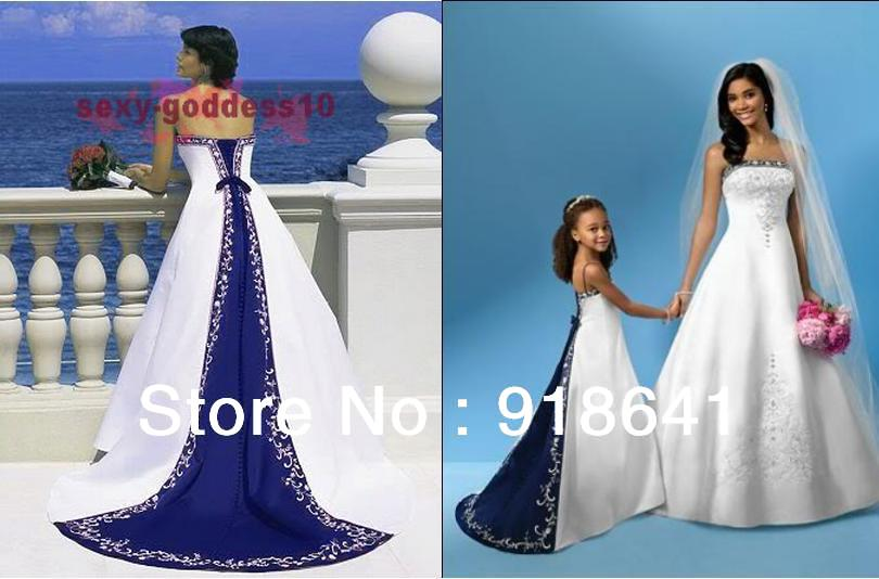 Hot sale embroidery royal blue and white wedding dress for Royal blue and white wedding dresses