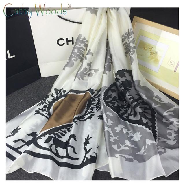 2016 Nuevo Verano 100% de Seda Verdadero Pura Bufanda Mujeres Chales Clásicos Patrones de Diseño de Marca de Calidad de La Bufanda Echarpe fulares dames sjaal