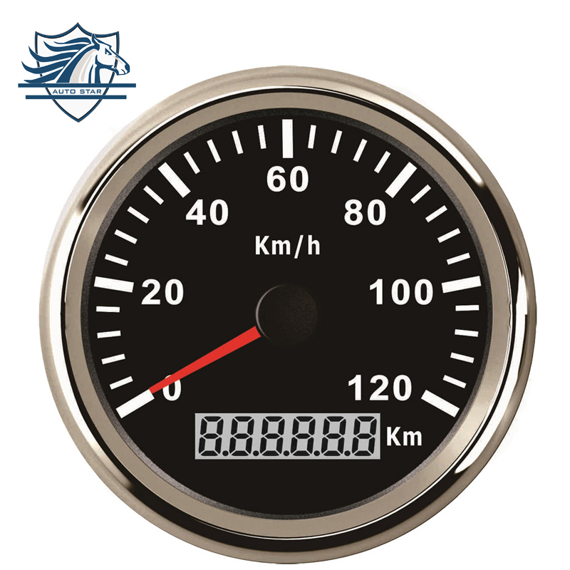In Stock  85mm font b GPS b font Speedometer Stainless Waterproof Gauge 120KM H Speed