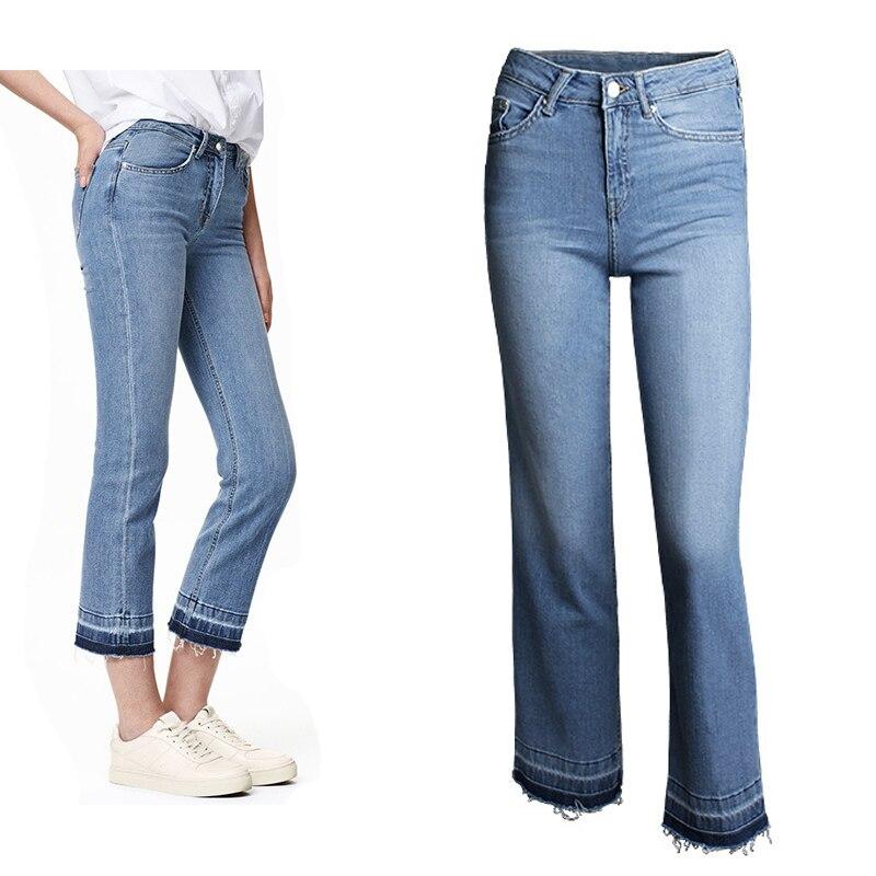2016 Women Summer Jeans Female Femme Denim Pants Washed Blesched Midi Jeans