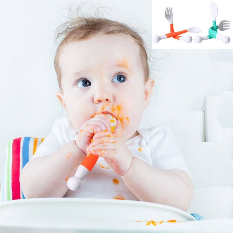 2Pcs Flexible Baby Spoon Fork Set Adjustable Children Learning Dishes Tableware